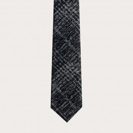 BRUCLE Unlined silk wool necktie tartan grey