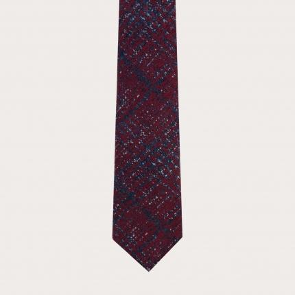 Cravate sans doublure gris en soie laine check tartans
