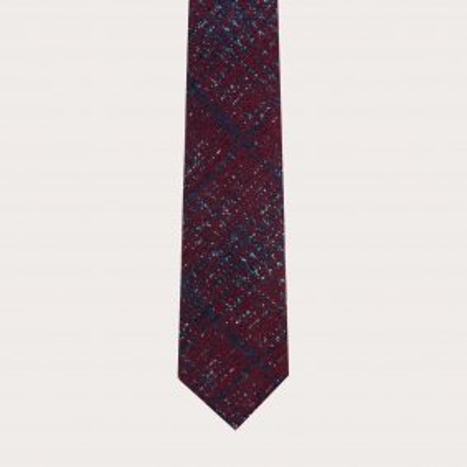 Cravatta sfoderata in lana e seta tartan grigia chiara