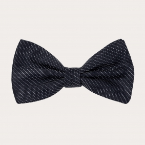 Silk pre-tied bow tie, blue navy with silver dotted pattern