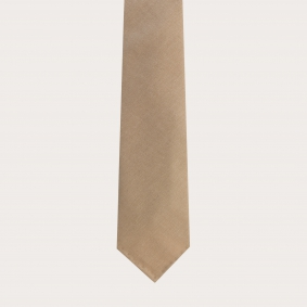 Cravatta sfoderata in lana e canapa, beige
