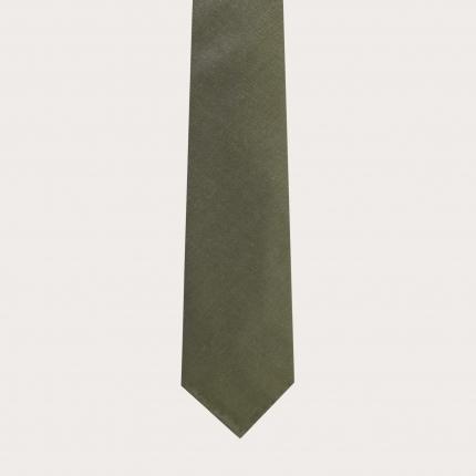 Cravatta sfoderata in lana e canapa, verde bottiglia