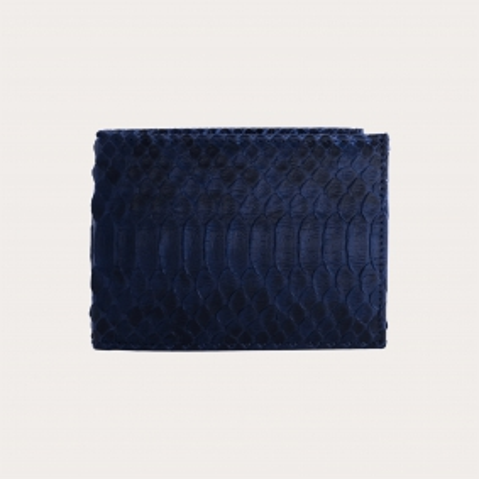 Genuine python bifold wallet with coin purse, blue
