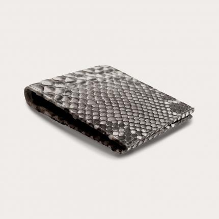 Genuine python bifold wallet with coin purse, rock