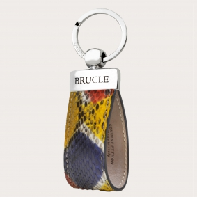 Genuine Python Leather keychain multicolor yellow