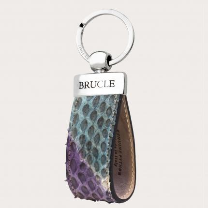 Schlüsselanhänger python leder mehrfarbig violett