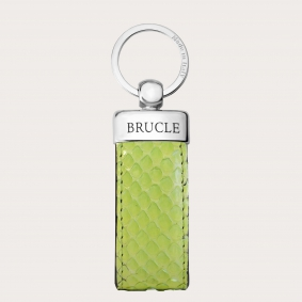 Porte clés vert citron en cuir python
