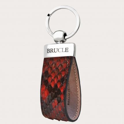 Porte clés rouge en cuir python