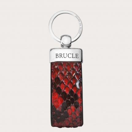 Genuine Python Leather keychain red