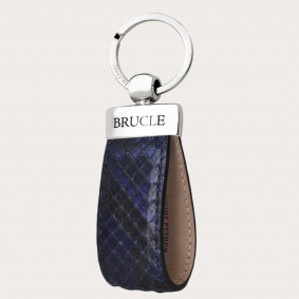 Porte clés bleu en cuir python