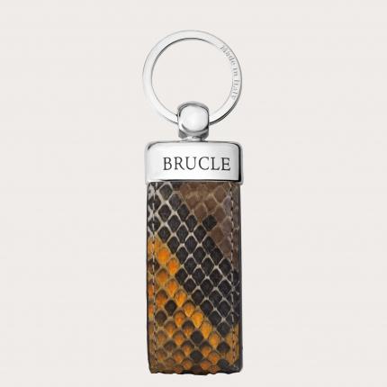 Porte clés multicolore brun en cuir python