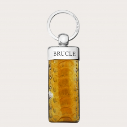 Genuine Python Leather keychain yellow