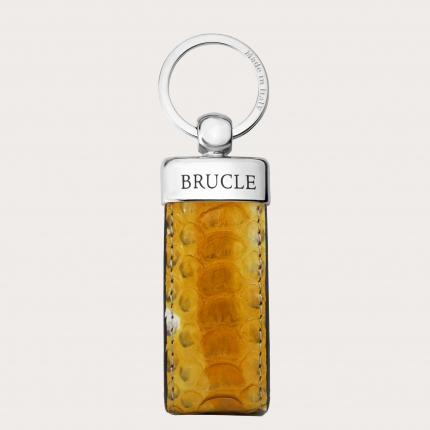 Porte clés jaune en cuir python