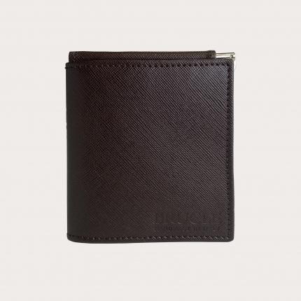 Mini portafoglio compatto in pelle saffiano con fermasoldi e portamonete, marrone e arancio