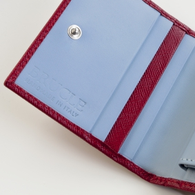 Compact mini wallet in saffiano leather with money clip and coin purse, red and light blue
