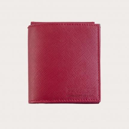 Mini portafoglio compatto in pelle saffiano con fermasoldi e portamonete, rosso e azzurro