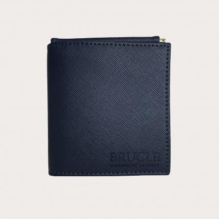 Mini portafoglio compatto in pelle saffiano con fermasoldi e portamonete, blu e giallo