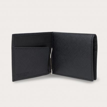 Mini portafoglio compatto in pelle saffiano con fermasoldi e portamonete, nero