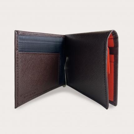Portefeuille compact trifold homme en cuir imprimé Saffiano, brun foncé