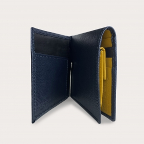 Compact mini wallet in saffiano leather with money clip and coin purse, blue and yellow