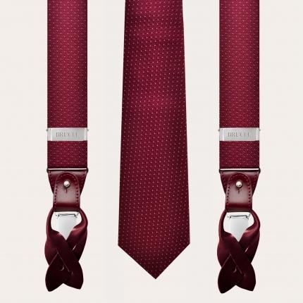 Bretelles et cravate coordonnées en laine et soie, motif pointillé bordeaux