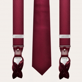 Coordinated braces and tie in wool and silk, burgundy dotted pattern