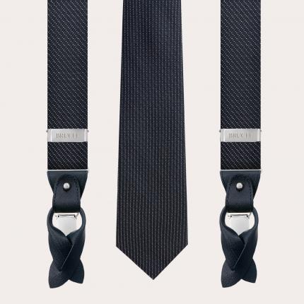 Bretelles et cravate coordonnées en soie et lurex, motif pois bleu