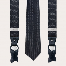 Coordinated suspenders and necktie in silk and lurex, blue dotted pattern