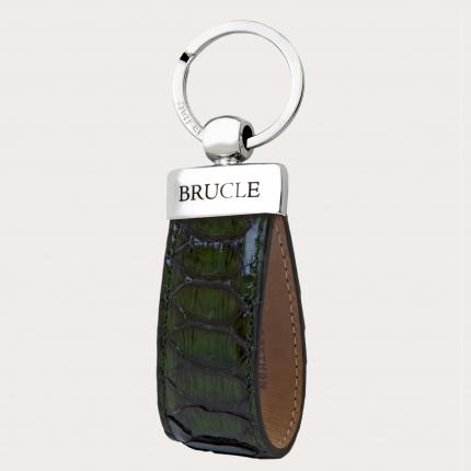 Porte clés vert en cuir python