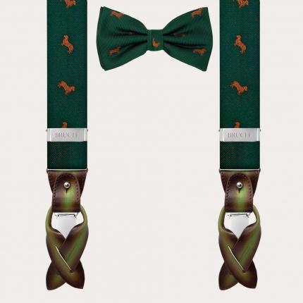 Coordinated silk suspender and bow tie, green dachshund pattern