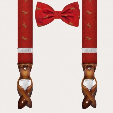 Coordinated silk suspender and bow tie, red dachshund pattern