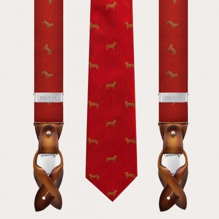 Coordinated silk suspenders and necktie, red dachshund pattern