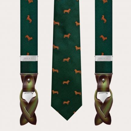 Coordinated silk suspenders and necktie, green dachshund pattern