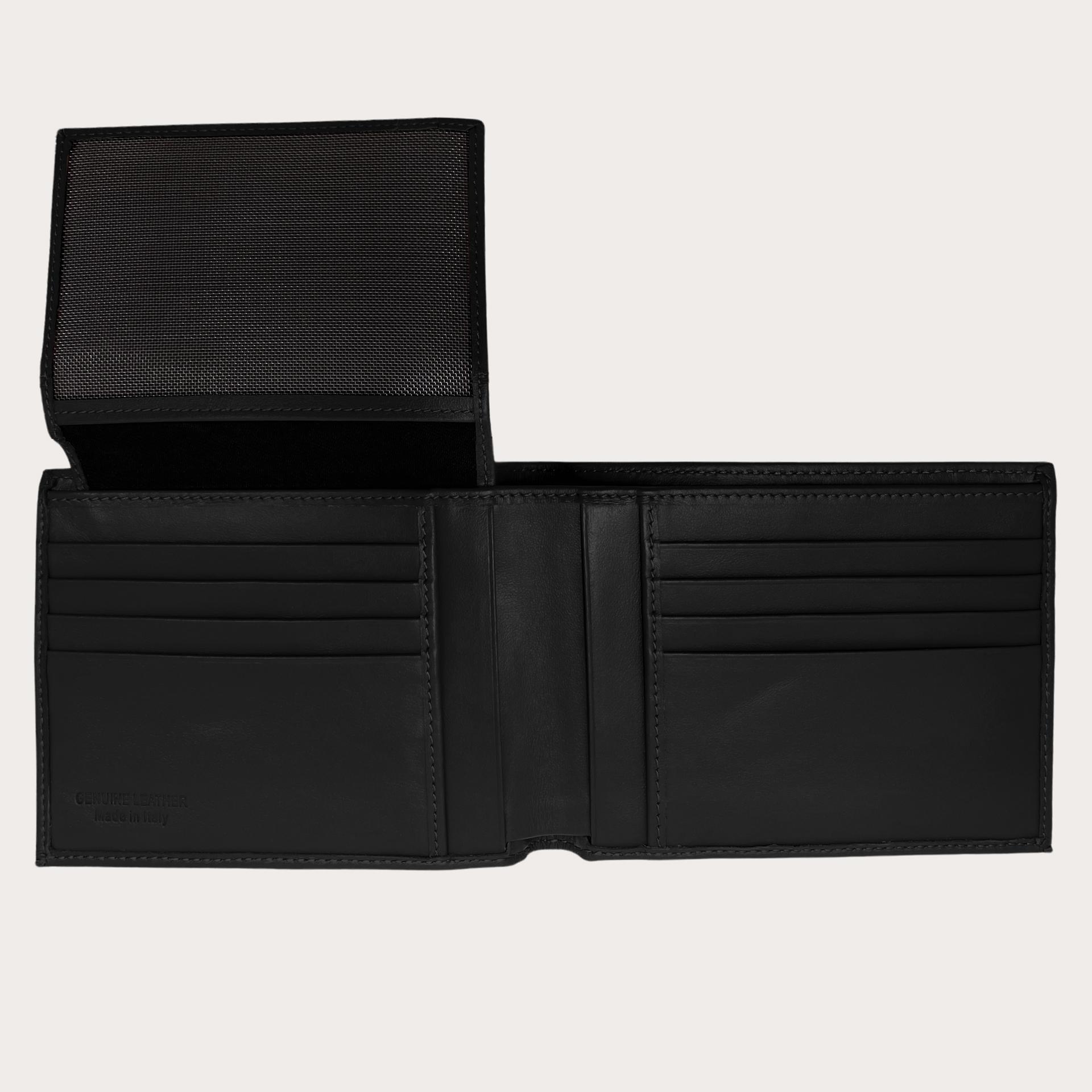 Portefeuille à rabat en cuir saffiano, noire