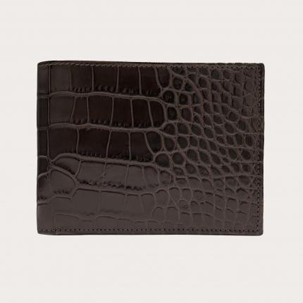 Portefeuille à rabat en cuir imprimé croco, brun foncé