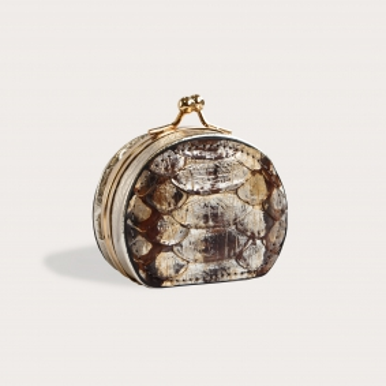 Python Leder Geldbörse für Münzen dunkelbraun