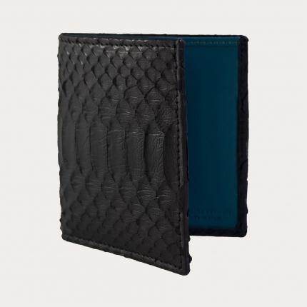 Portefeuille compact en cuir python, noire