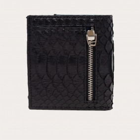 Bifold compact python leather wallet, black