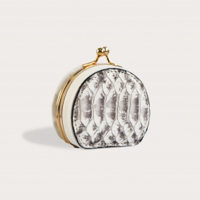 Coin purse in back cut python leather, rock color