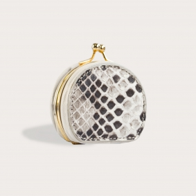 Coin purse in front cut python leather, rock color