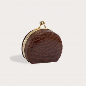 Coin purse in real crocodile leather, brown