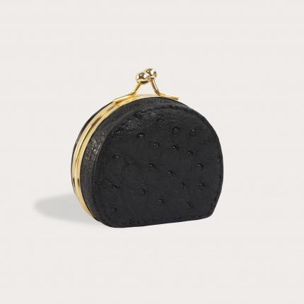 Coin purse in genuine ostrich leather, black
