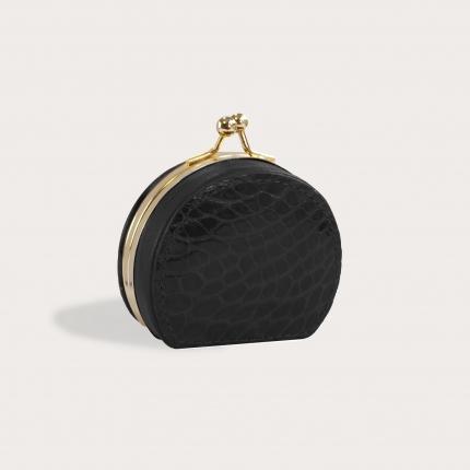 Porte-monnaie en cuir de crocodile véritable, noir