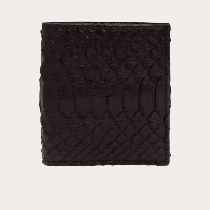 Portefeuille compact en cuir python, brun foncé