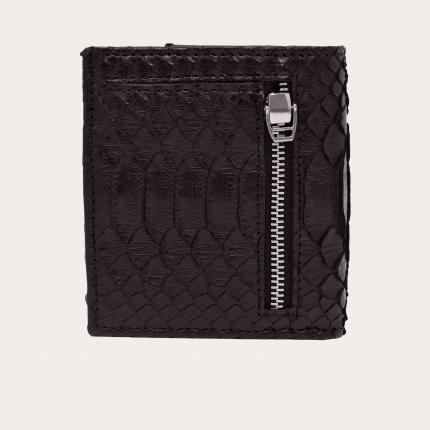 Kompakte python leder brieftasche, braun
