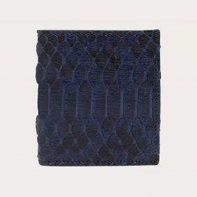 Bifold compact python leather wallet, blue navy