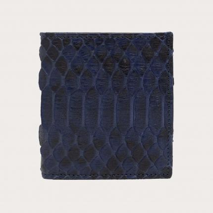 Mini portafoglio compatto in pitone, blu