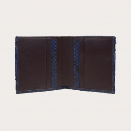 Kompakte python leder brieftasche, blau