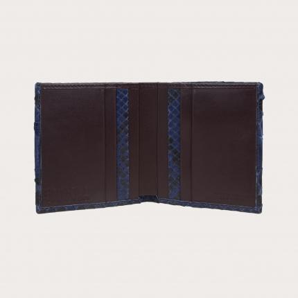 Portefeuille compact en cuir python, bleue