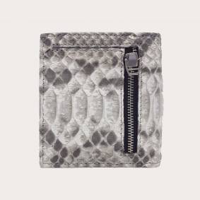 Bifold compact python leather wallet, rock grey